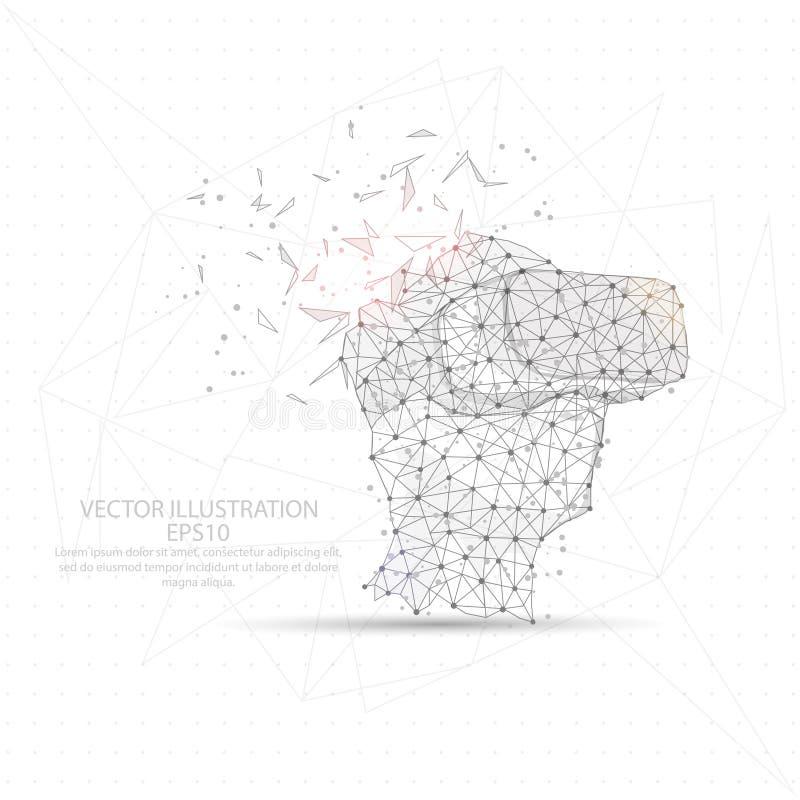 Virtueel digitaal getrokken van de werkelijkheidsvorm laag polydraadkader royalty-vrije illustratie