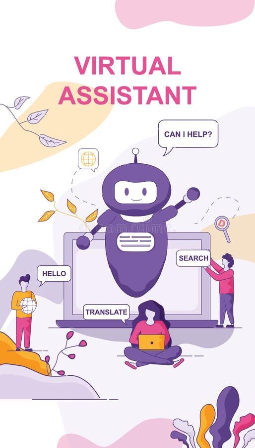 Virtueel Hulppraatje Bot voor Personal computer vector illustratie