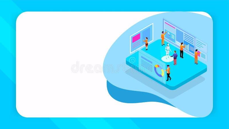 Virtueel mede-werkt concept gebaseerd ontwerp, illustratie van mensen die robotachtig project met analysegegevensbeheer werken stock illustratie