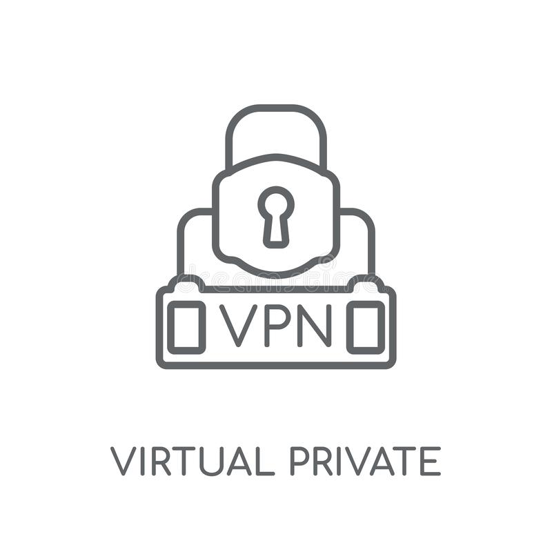 Virtueel particulier netwerk lineair pictogram Moderne overzichts Virtuele priv stock illustratie