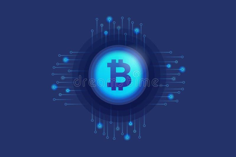 Virtueel pictogram van criptomunt Bitcoin op elektronische kring als achtergrond Digitaal muntconcept stock illustratie