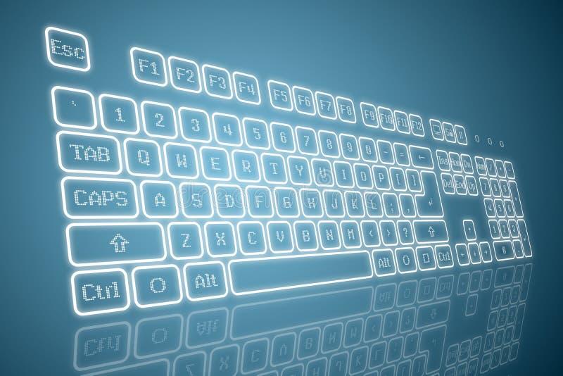 Virtueel toetsenbord in perspectief royalty-vrije illustratie