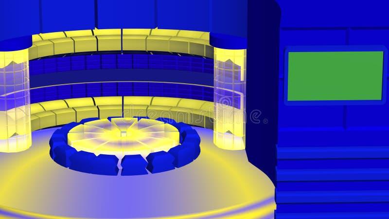 Virtueel TV-nieuws radiaal geel blauw als achtergrond royalty-vrije illustratie