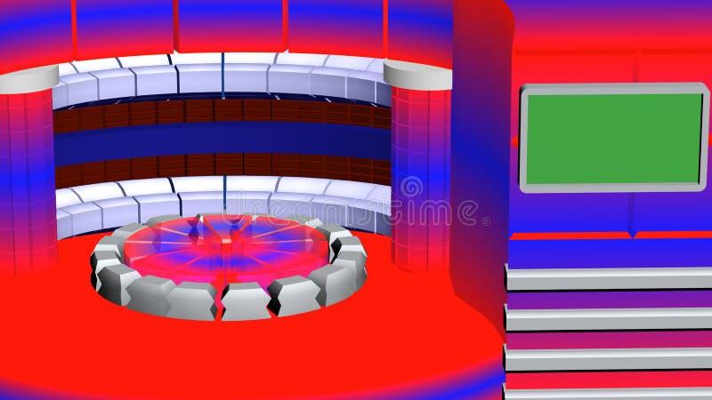 Virtueel TV-nieuws radiaal rood wit blauw als achtergrond stock illustratie