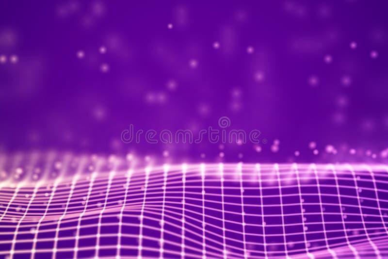 Virtueel werkelijkheidsconcept: 3D Roze digitaal wireframenet met drijvende deeltjes vector illustratie