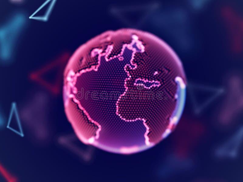 Virtueel werkelijkheidsconcept: digitale aarde die uit rode gloeiende punten bestaan vector illustratie