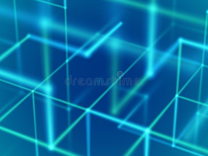 Virtueel werkelijkheidsconcept: gloeiende lijnen en deeltjes in cyberspace vector illustratie
