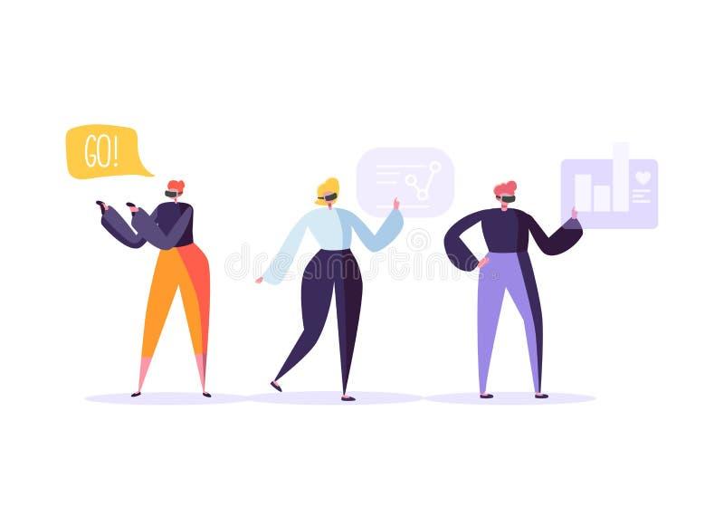 Virtueel Werkelijkheidsconcept Vlakke Mensenkarakters die VR-Wereldervaring hebben Vermaaktechnologie Vergrote werkelijkheid stock illustratie