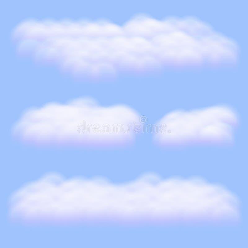 Virtuele cumulus wolken vectoren geïsoleerd op de achtergrond van de hemel, realistische Fluffy kubussen zoals zuivere katoenwol royalty-vrije illustratie