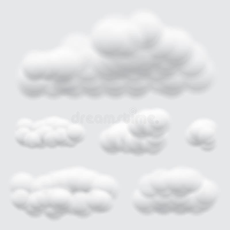 Virtuele cumulus wolken vectoren geïsoleerd op lichte grijze achtergrond, realistische Fluffy kubussen zoals zuivere katoenwol stock illustratie