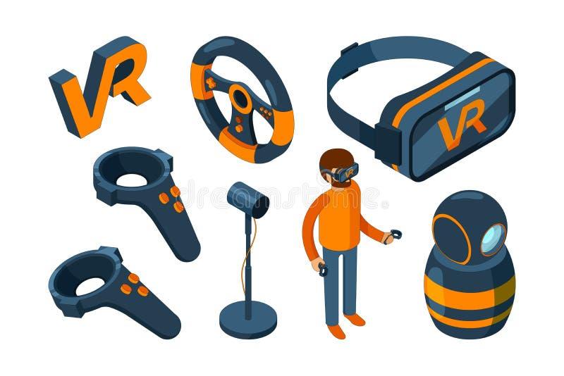 Virtuele 3d werkelijkheid De futuristische helm van het Vrspel en digitale isometrische de hoofdtelefoonvector van de glazenvergr stock illustratie