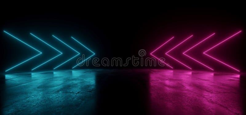 Virtuele de Pijlen van de Neonlaser het Gloeien Purpere Blauwe Trillend toont Nacht Donkere Lege Grunge Concrete Gestalte gegeven vector illustratie