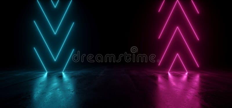 Virtuele de Pijlen van de Neonlaser het Gloeien Purpere Blauwe Trillend toont Nacht Donkere Lege Grunge Concrete Gestalte gegeven stock illustratie