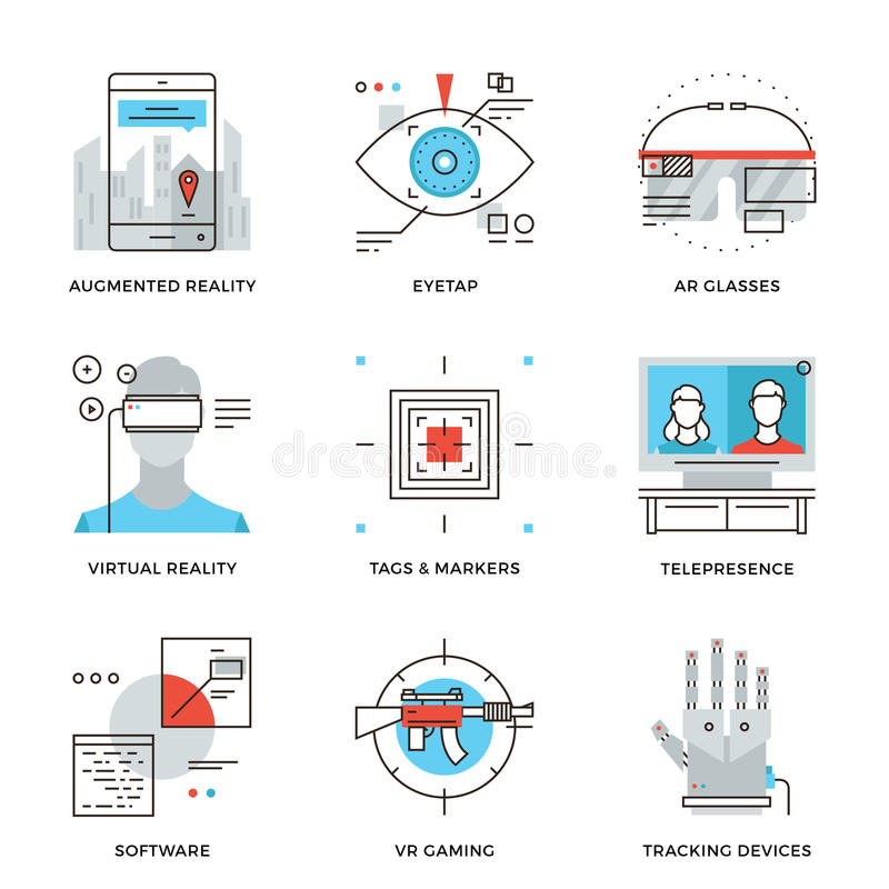 Virtuele geplaatste de lijnpictogrammen van de werkelijkheidstechnologie royalty-vrije illustratie