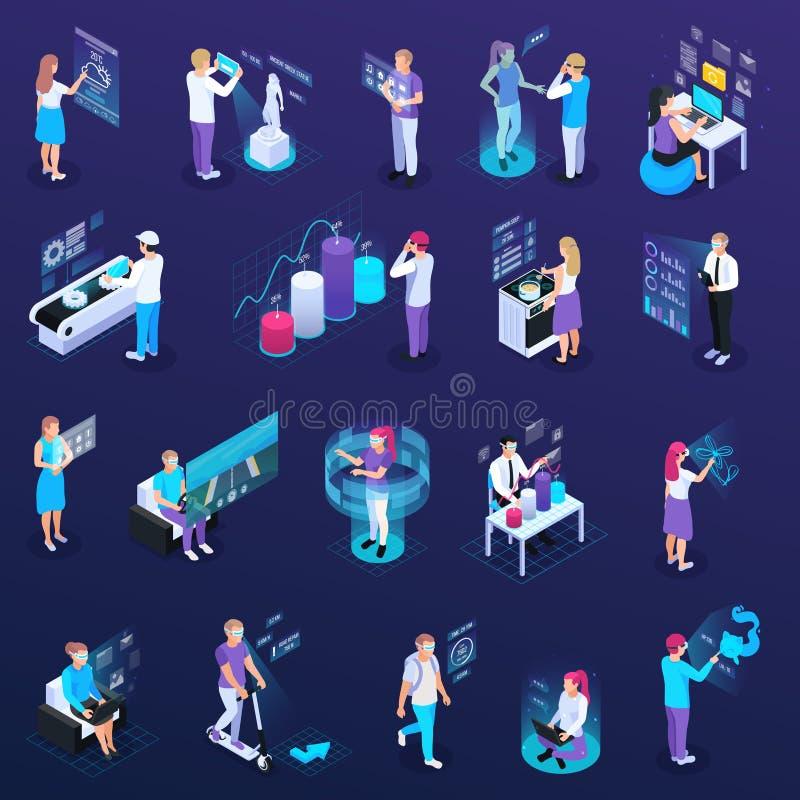 Virtuele Geplaatste Werkelijkheidsmensen royalty-vrije illustratie