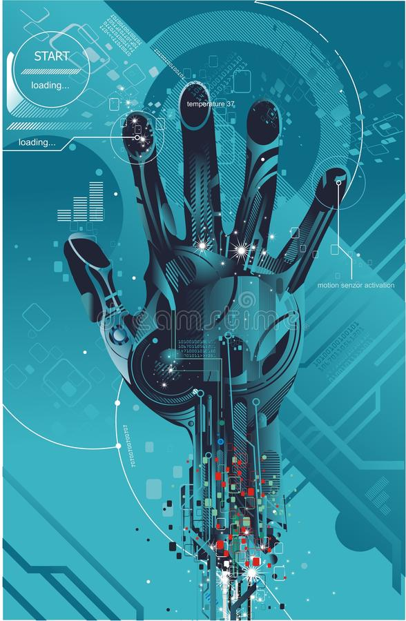 Virtuele hand op futuristische dsign royalty-vrije illustratie