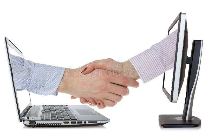 Virtuele handdruk - Internet-bedrijfsconcept stock afbeelding