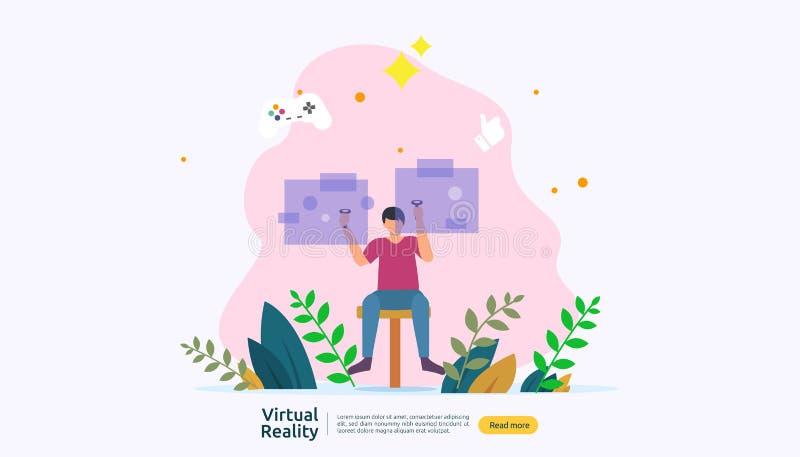 Virtuele vergrote werkelijkheid mensenkarakter wat betreft de interface en het dragen van van VR beschermende bril speelspelen, o stock illustratie