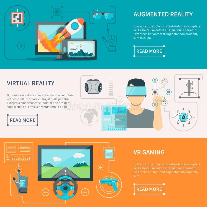 Virtuele Vergrote Werkelijkheids Horizontale Banners royalty-vrije illustratie