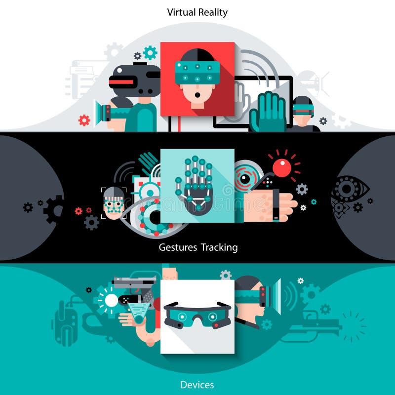 Virtuele Vergrote Werkelijkheidsbanners stock illustratie