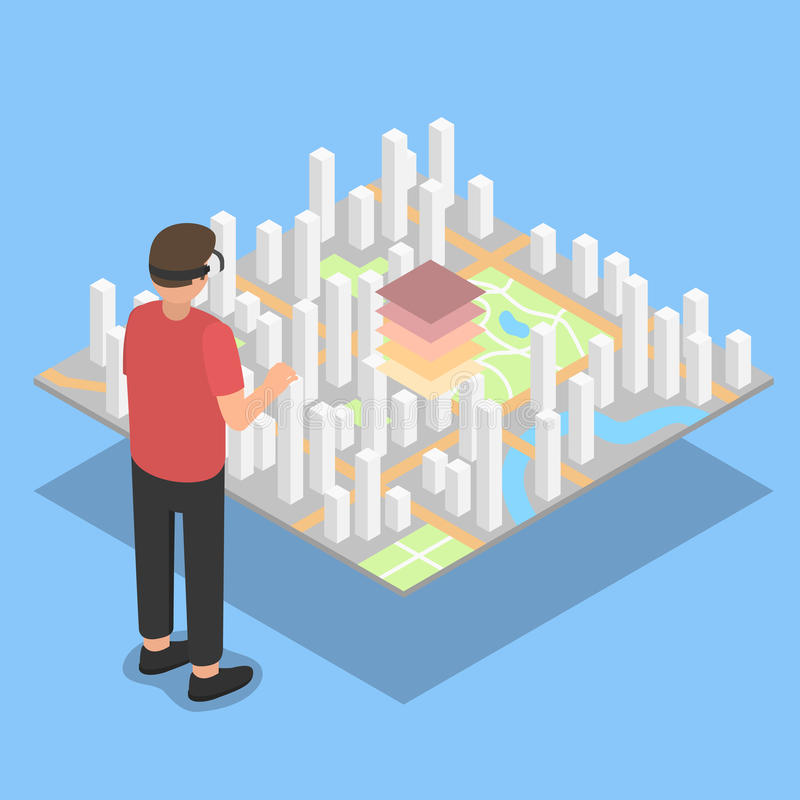 Virtuele werkelijkheid De projectie van het stadsplan stock foto's