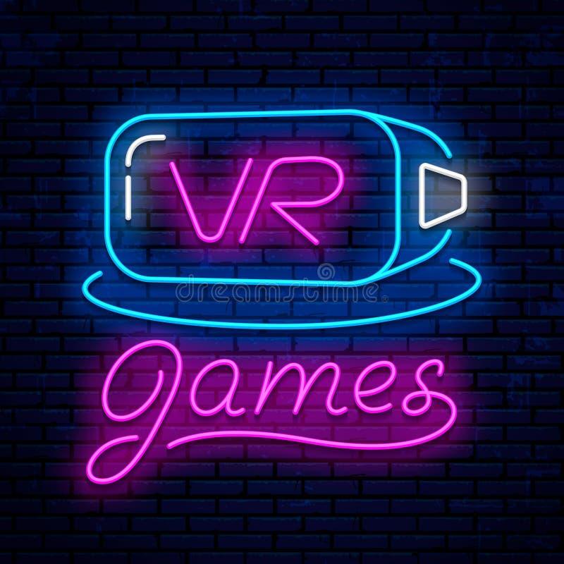 Virtuele werkelijkheid Het ontwerp van het neonteken Neon gloeiend pictogram royalty-vrije stock afbeelding