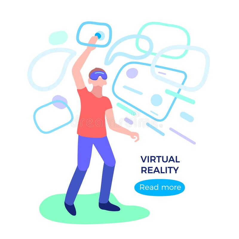 Virtuele werkelijkheid Mens met glas, hoofdtelefoon Netwerk digitale technologie royalty-vrije illustratie
