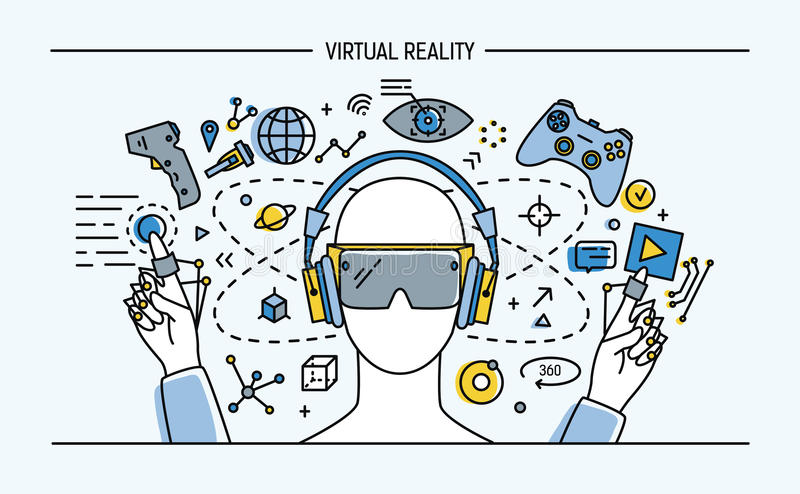 Virtuele werkelijkheids lineart banner Kleurrijke vectorillustratie royalty-vrije illustratie