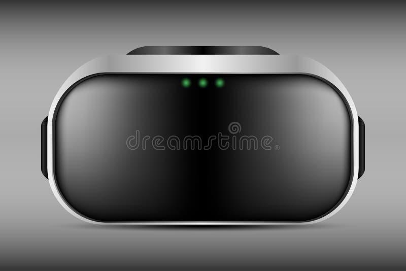 Virtuele werkelijkheidsglazen VR optische hoofdvertoning Digitale cyberspace technologie Vector stock illustratie