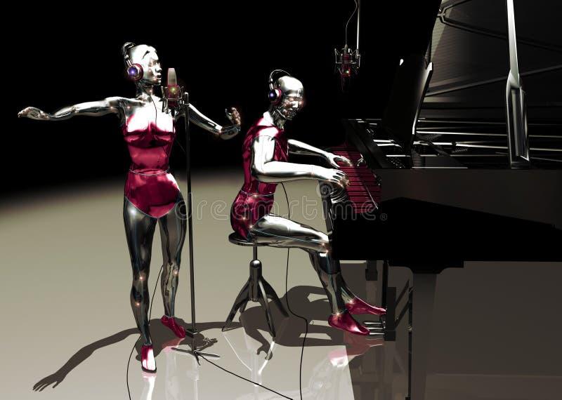 Virtuele zanger en pianist vector illustratie