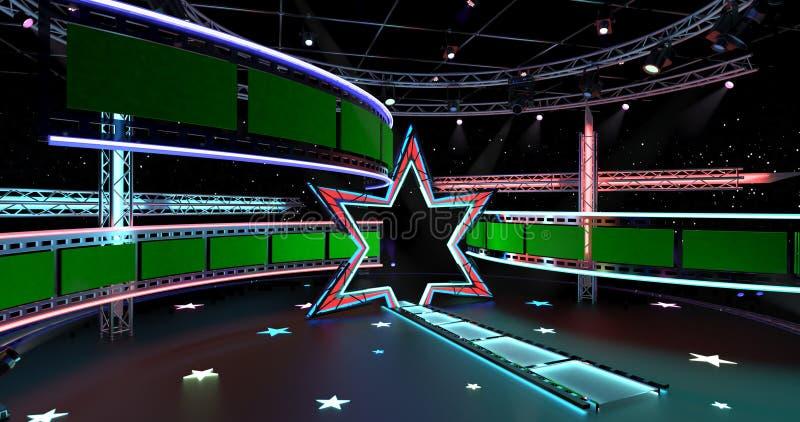 Virtuell TV Studio-underhållning 4-4 vektor illustrationer