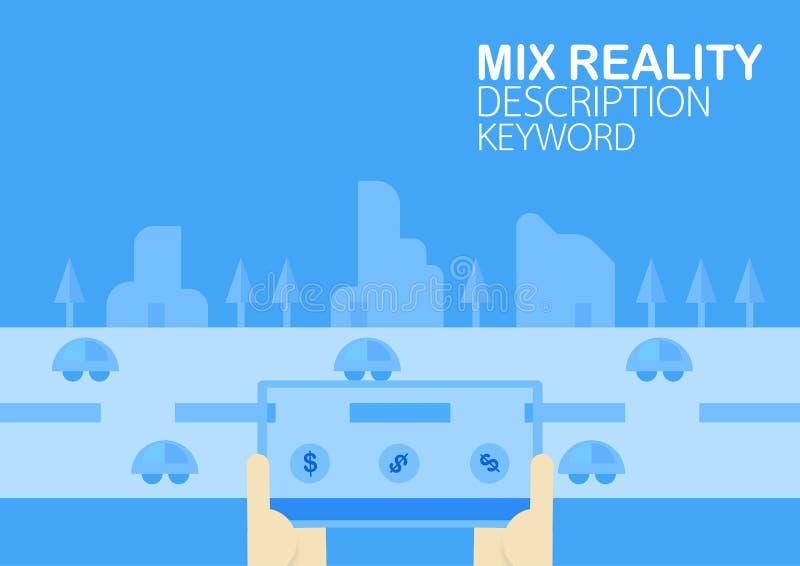 Virtuell verklighet och blandad verklighet på mobiltelefonen Vektor Illust royaltyfri illustrationer