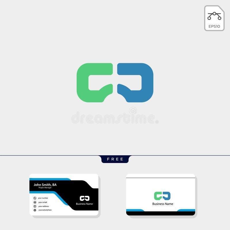 Virtuell verklighet VR, för logomall för vision idérik illustration för vektor, fri mall för affärskortdesign royaltyfri illustrationer