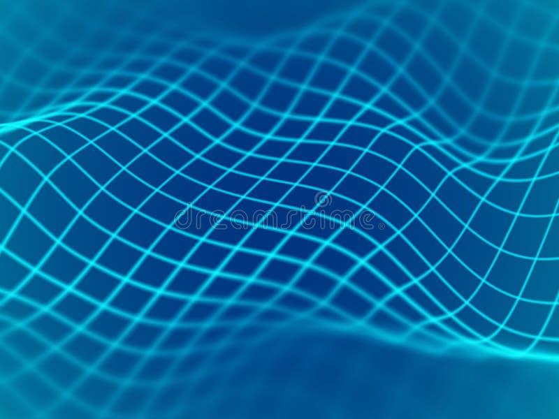Virtuell verklighetbegrepp: abstrakt digitalt landskapraster i cyberspace royaltyfri illustrationer