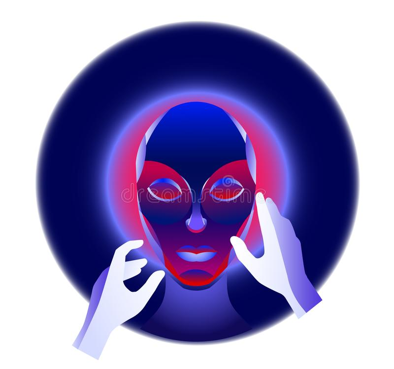 Virtuell verklighetbegrepp, cyberpunkflickatecken i futuristiskt utrymme 3d också vektor för coreldrawillustration vektor illustrationer