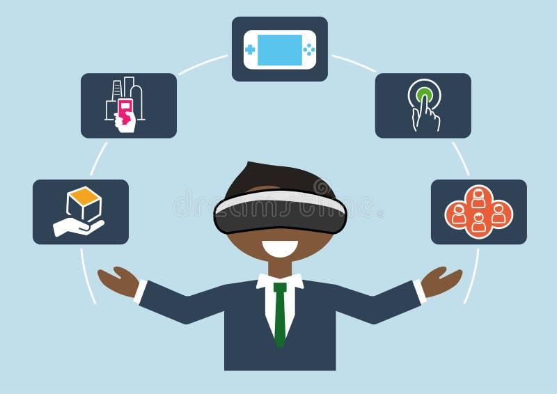 Virtuell verklighetbegrepp som illustration av affärsmannen som använder VR-hörlurar med mikrofon vektor illustrationer