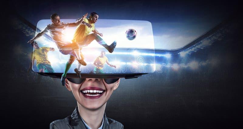 Virtuell verkligheterfarenhet framtida teknologier royaltyfri fotografi