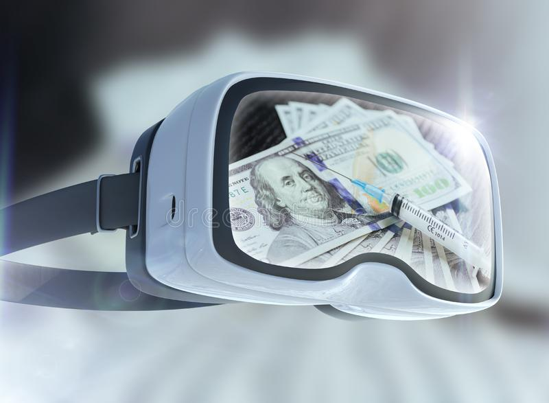 Virtuell verklighetexponeringsglas-, affärs-, teknologi-, internet- och nätverkandebegrepp Kokain för injektionssprutaabstrakt be fotografering för bildbyråer