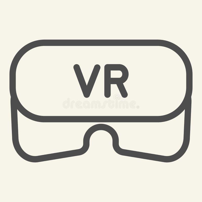 Virtuell verklighethjälmlinje symbol Illustration för VR-exponeringsglasvektor som isoleras på vit Modig design för teknologiöver vektor illustrationer