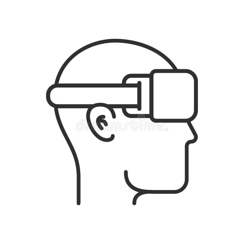 Virtuell verklighetillustration Head kontur med VR-hörlurar med mikrofon i modern stil för översiktsvektorlägenhet Linje symbol royaltyfri illustrationer