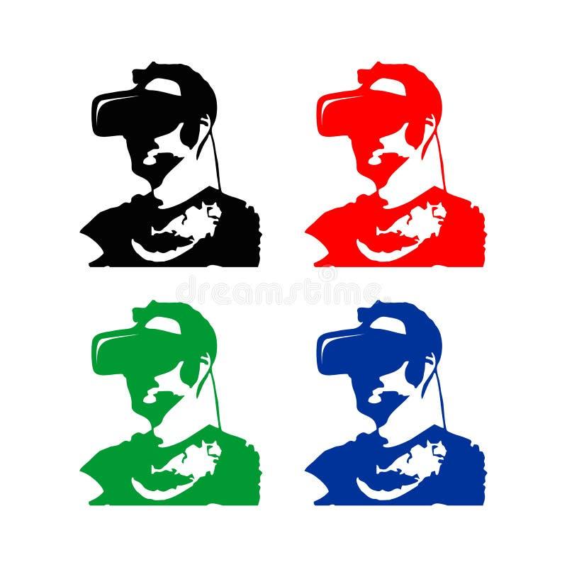 Virtuell verklighetman royaltyfri illustrationer