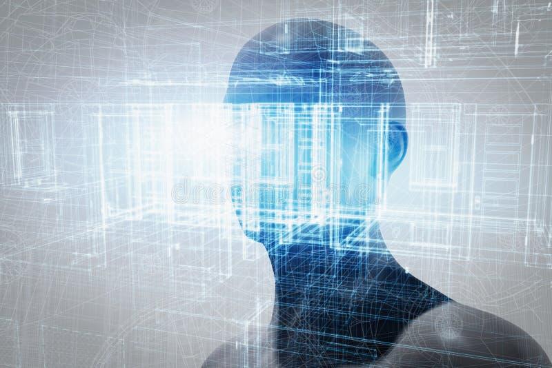 Virtuell verklighetprojektion Framtida vetenskap med modern teknologi, konstgjord intelligens royaltyfria bilder