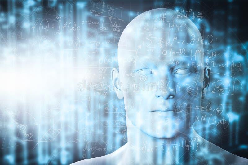 Virtuell verklighetprojektion Framtida vetenskap med modern teknologi, konstgjord intelligens royaltyfri fotografi