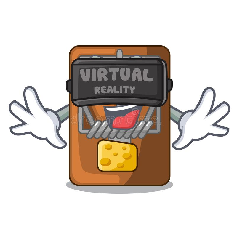 Virtuell verklighetråttfälla som isoleras med i tecknade filmen stock illustrationer