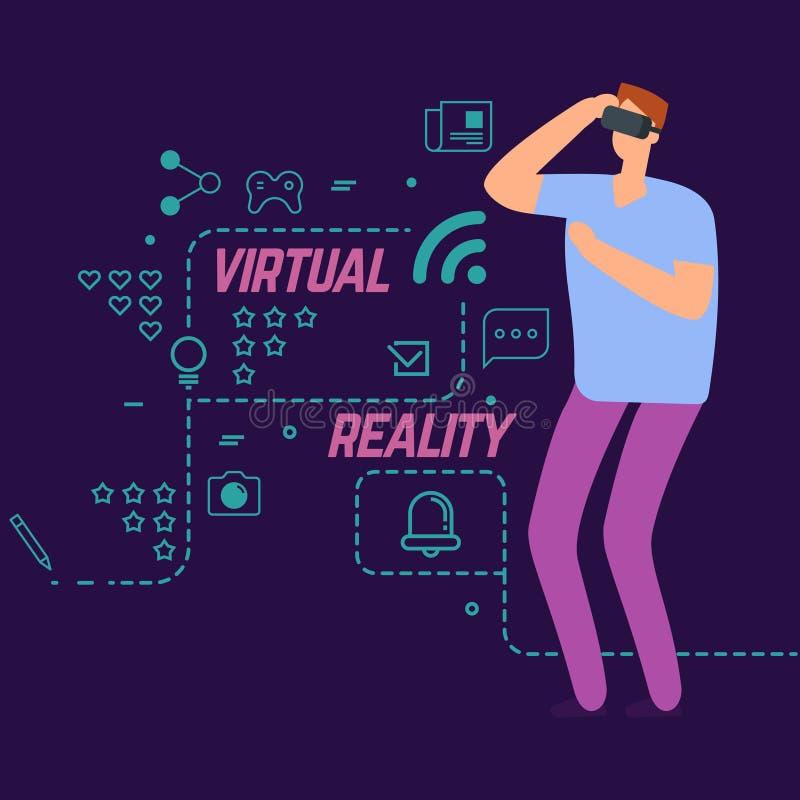 Virtuell verklighetvektorbegrepp med linjen sociala symboler och pojke för tecknad filmtecken royaltyfri illustrationer