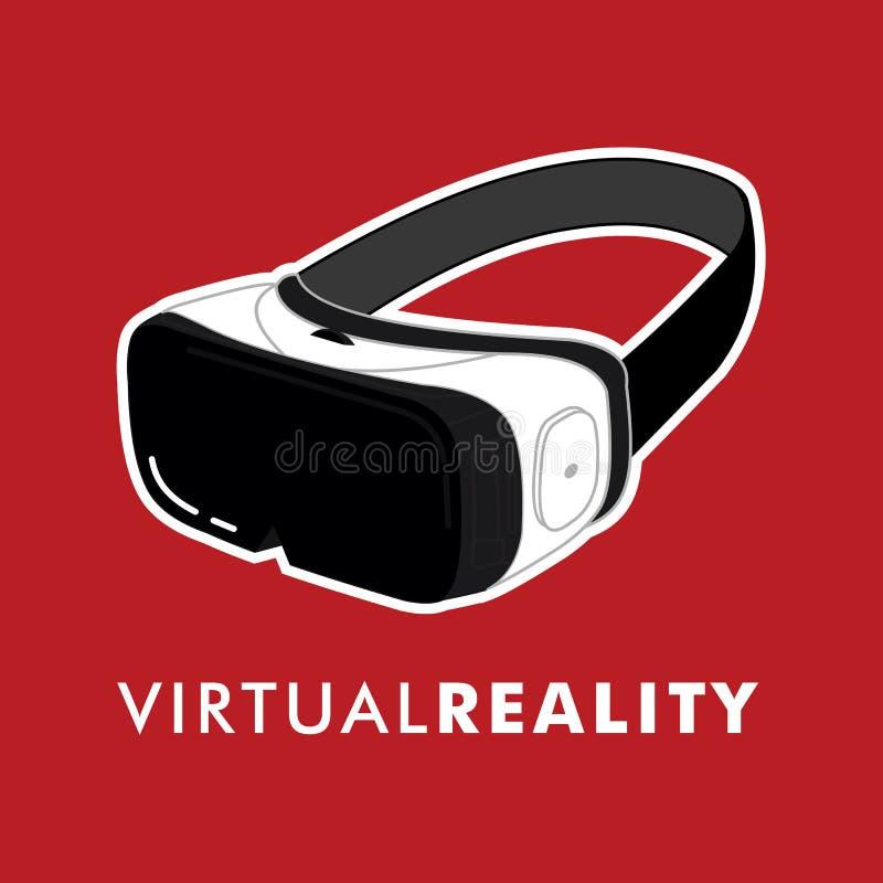 Virtuell verklighetvektorlinje konst, VR-exponeringsglas stock illustrationer