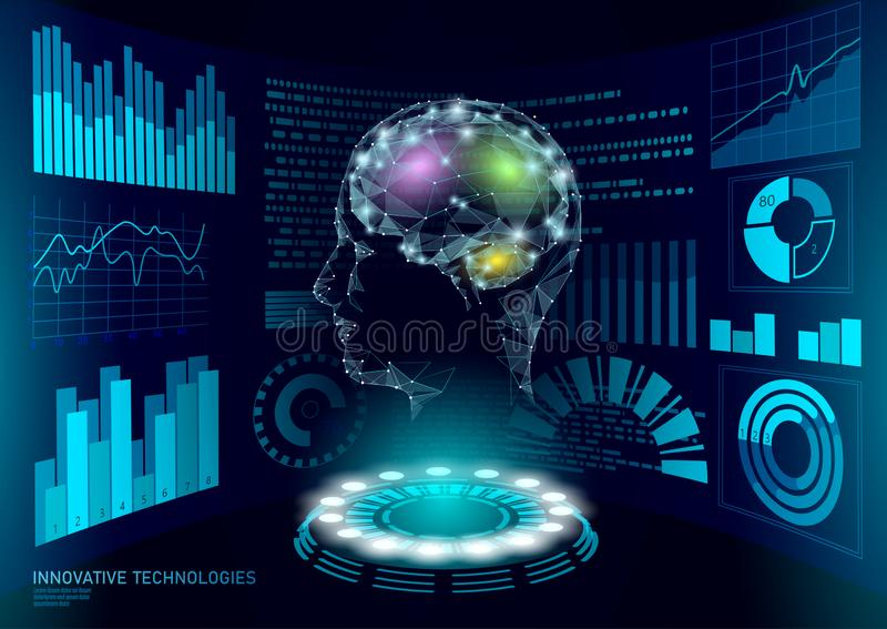 Virtuelle Assistenten-HUD-Benutzerdisplaytechnologie Roboterunterstützung künstlicher Intelligenz AI Menschliches Gehirn Chatbot  lizenzfreie abbildung