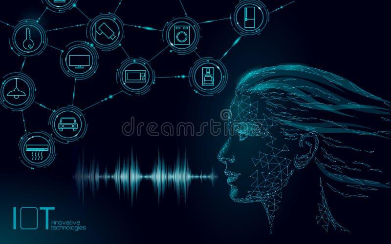 Virtuelle behilfliche Spracherkennungsservice-Technologie Roboterunterst?tzung k?nstlicher Intelligenz AI Junges Mädchen Chatbot stock abbildung