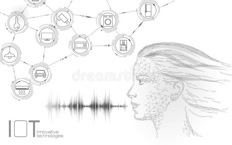 Virtuelle behilfliche Spracherkennungsservice-Technologie Roboterunterst?tzung k?nstlicher Intelligenz AI Junges Mädchen Chatbot lizenzfreie abbildung