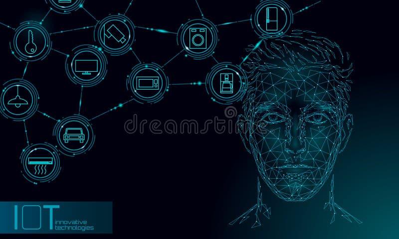 Virtuelle behilfliche Spracherkennungsservice-Technologie Roboterunterst?tzung k?nstlicher Intelligenz AI Männliches Manngesicht  lizenzfreie abbildung